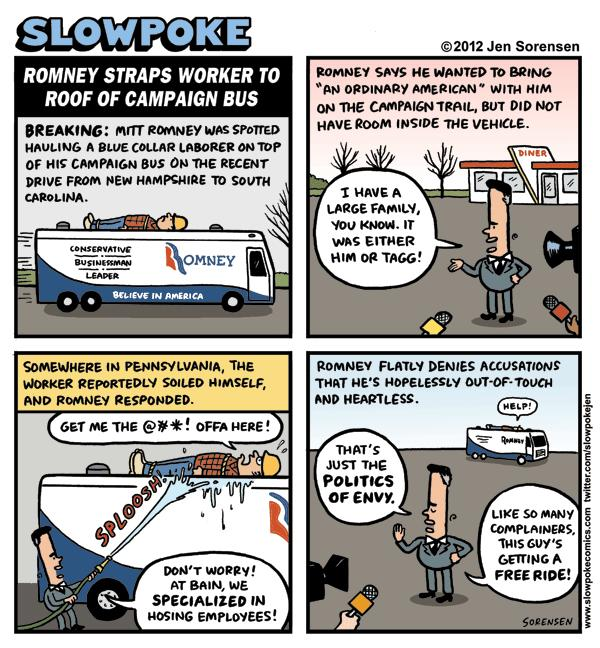 "This Week's Cartoon: ""Romney Straps Worker to Roof of Campaign Bus"""