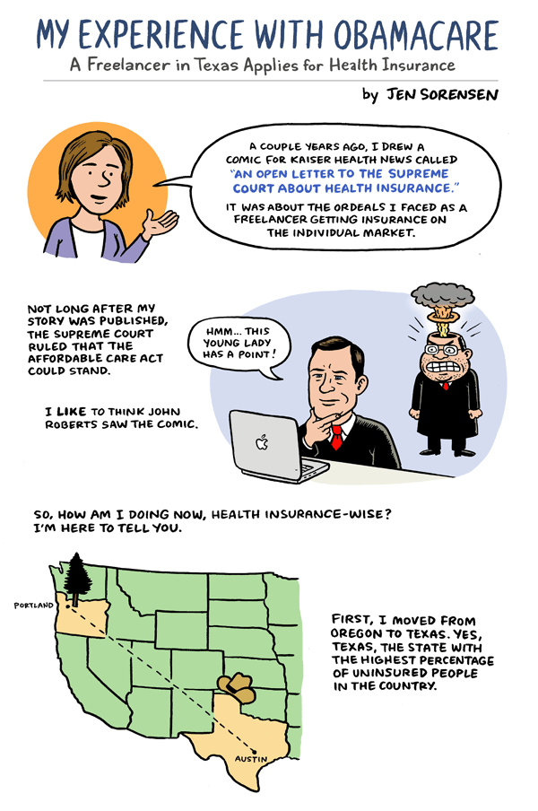 my experience obamacare comic essay on the affordable care  page one of affordable care act comic for kaiser health news