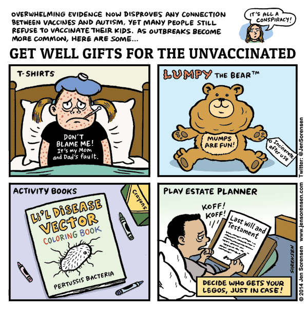 Funny vaccination cartoon images for Unusual get well gifts