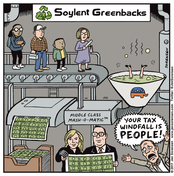 Trump Taxes Solar: Cartoon: The Republican Tax Bill Is Soylent Greenbacks